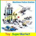 Kazi 6726 536 pcs blocos de construção de mini figuras de ação modelo de estação de polícia marítima policial figuras bricks compatível com lego
