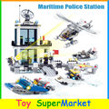 Kazi 6726 536pcs Maritime Police Station Building Blocks Mini Model Action Figures Policeman figures Bricks Compatible With Lego