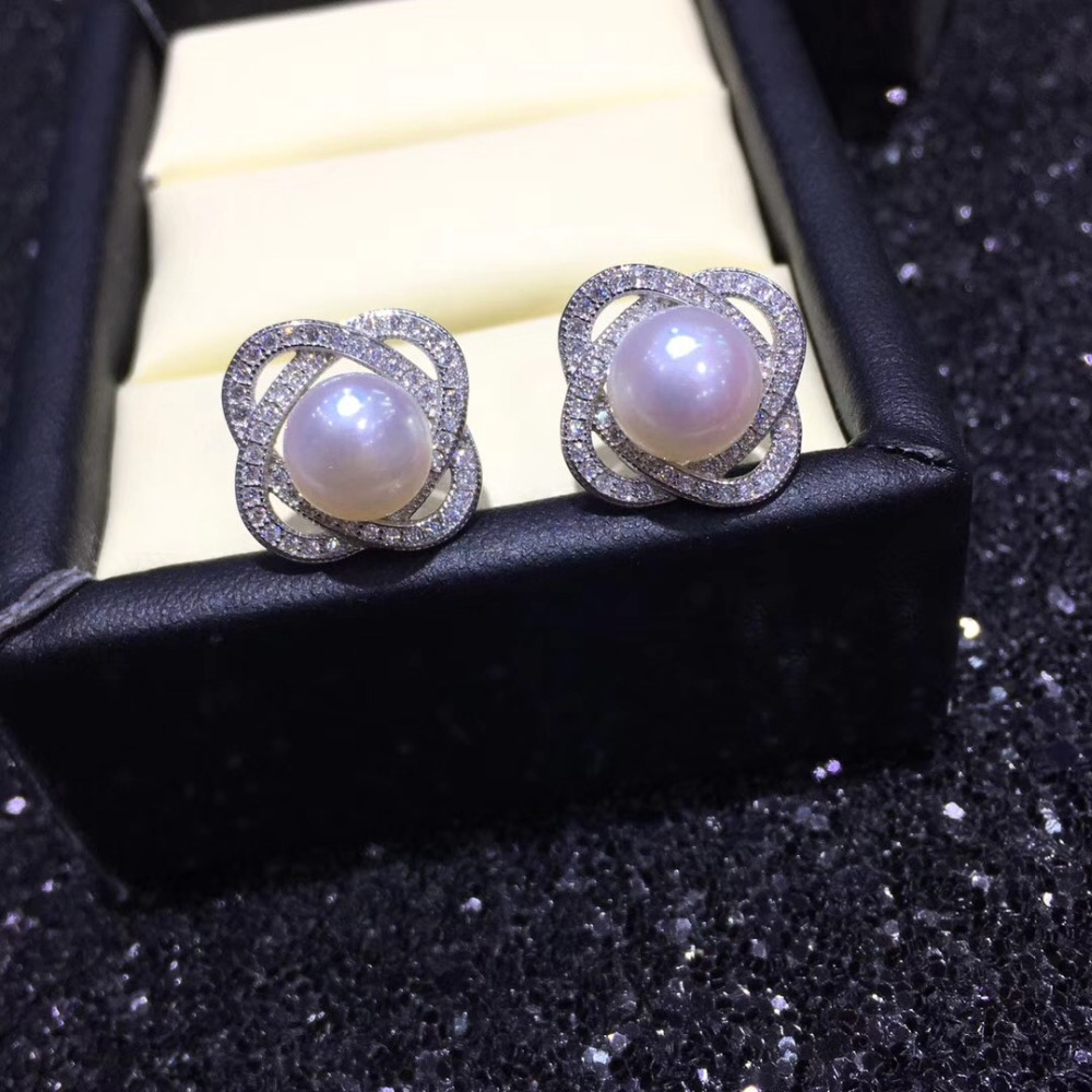 YIKALAISI 925 sterling Silver Jewelry Pearl Earrings For Women 8-9mm natural Freshwater Pearl jewelry Earrings wholesale