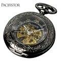 Pacifistor mecânico relógio de bolso esqueleto mens relógio de bolso antigo romano do vintage de luxo reloj presente cadeia do punk do vapor 2017