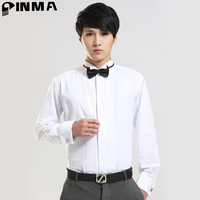 Western Man Long Sleeve Cuffs Dress Shirts Slim Fit High Quality Luxury Wedding Shirts White Pink