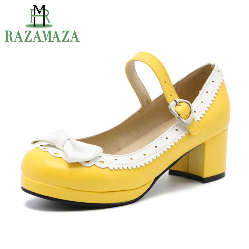 RAZAMAZA Women High Heel Shoes Women Patchwork Bowknot Heart Buckle Thick Heels Pumps Ladies Office Daily Footwear Size 28-43