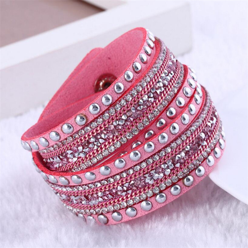 Fashion Rhinestone PU Leather Crystal Multilayer Bangles Bracelets Girl Hand Chain Wrist strap For Women Jewelry,Clothing Wild