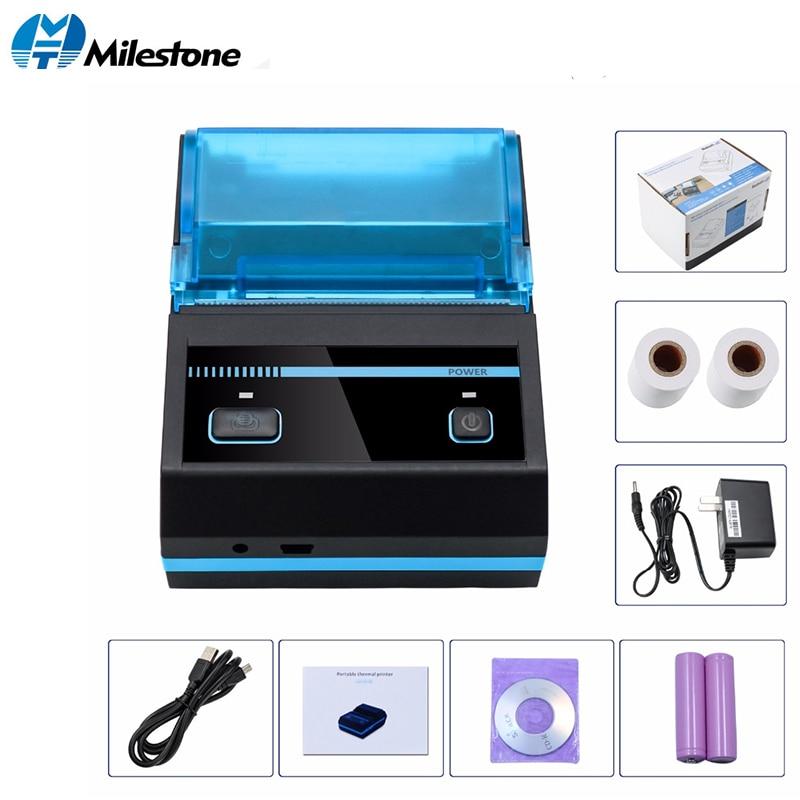 Milestone Bluetooth Printer Bill Ticket Receipt Android IOS Thermal Printer USB Printer Mini Pocket Small EU US UK MHT-P5801