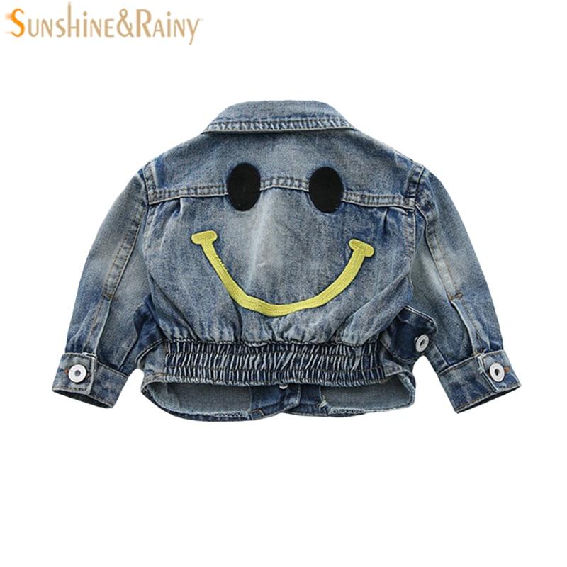 Детские Джинсовые куртки для девочек Пальто для будущих мам для Обувь для мальчиков Джинсовое Пальто модная детская верхняя одежда улыбка ...