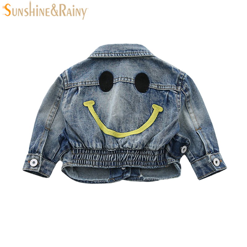 Baby Girls Denim Jackets Coats For Boys Jean Coat Fashion Children Outwear Smile Embroidery Girls Cardigan Kids Jean Jacket New