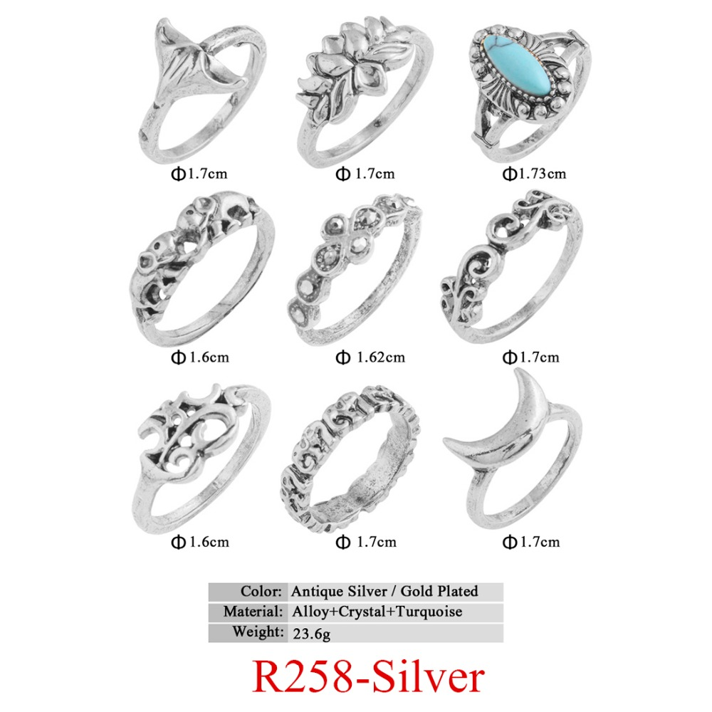 HTB1rISSQVXXXXX_XpXXq6xXFXXXL 11-Pieces Boho Chic Spirituality Silver Plated Antique Stackable Ring Set - 9 Sets