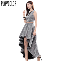 PLAYCOLOR 2 Piece Sleeveless Glitter Cocktail Dress Long 2017 Woman Cocktail Party Dress Girl Prom Dress