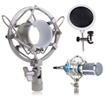 Condenser Mic Microphone Shock Mount With Integrated Pop Filter Silver FC