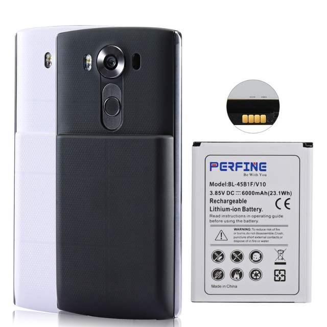 US $19 91 17% OFF Perfine BL 45B1F For LG V10 H900 VS990 Extended Battery  With Back Cover Case Black&White 6000mAh Mobile Phone Batteries-in Mobile