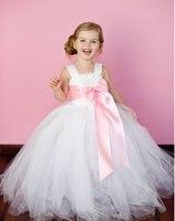2016 White White Long Flower Girl Dresses For Wedding 2 14Year Bow Ball Gown Tulle Evening