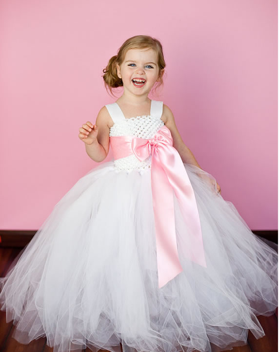 2018 White Long Flower Children Girl Dresses for Wedding 2 14Year Ball Gown Tulle Evening Gowns Birthday Party Baby Dresses