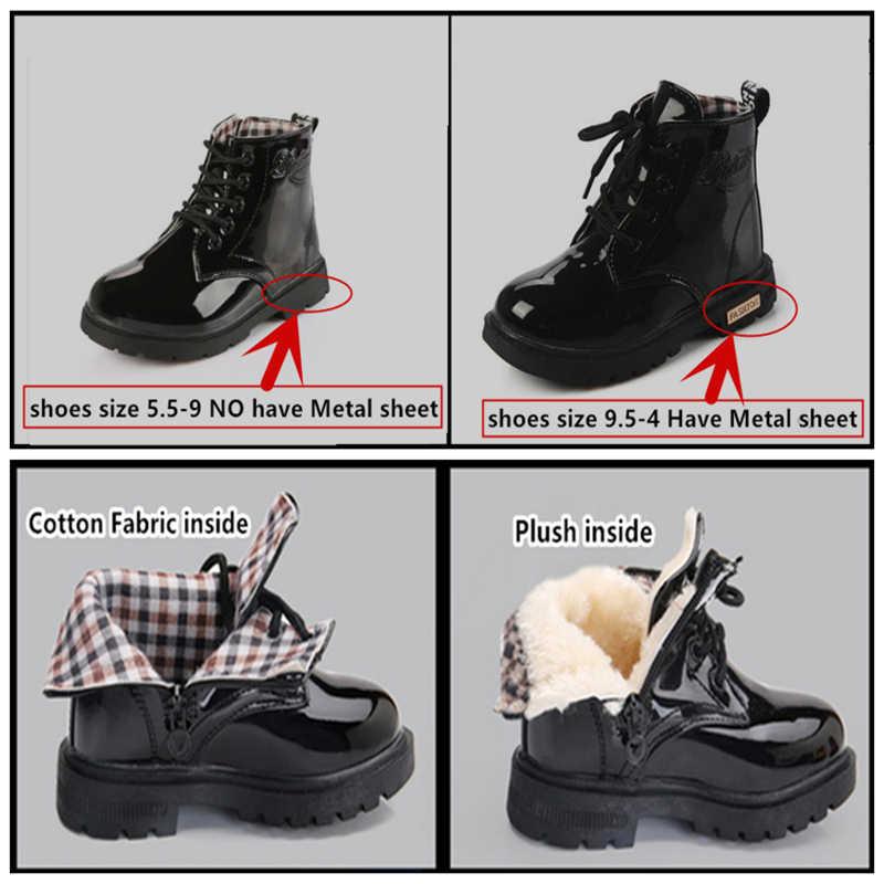 Jesień zima moda dziecięce buty dziecięce buty chłopcy dziewczęta pluszowe kostki zimowe PU skóra motocykl dziecięcy buty 050