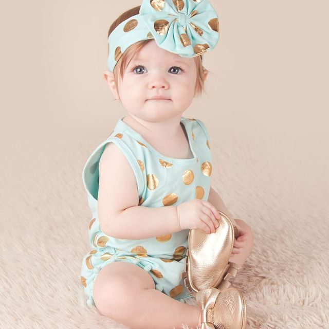 c946959e7 mint aqua & Gold Dots Pom Pom Romper Jumpsuit & Big Bow Headband Set,baby  girl clothes,baby outfit,Sparkle Gold Dots baby romper