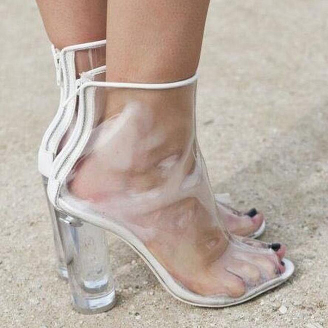 Zachodnia Femme Jasne Przezroczyste Buty Pięty Plastikowe