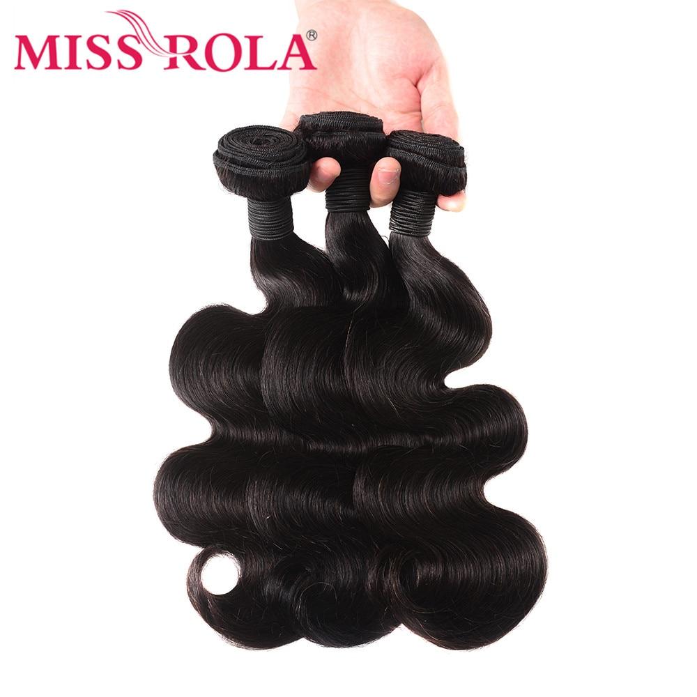 Fröken Rola Hair Peruvian Body Wave With Closure 100% Human Hair 3 - Mänskligt hår (svart) - Foto 3