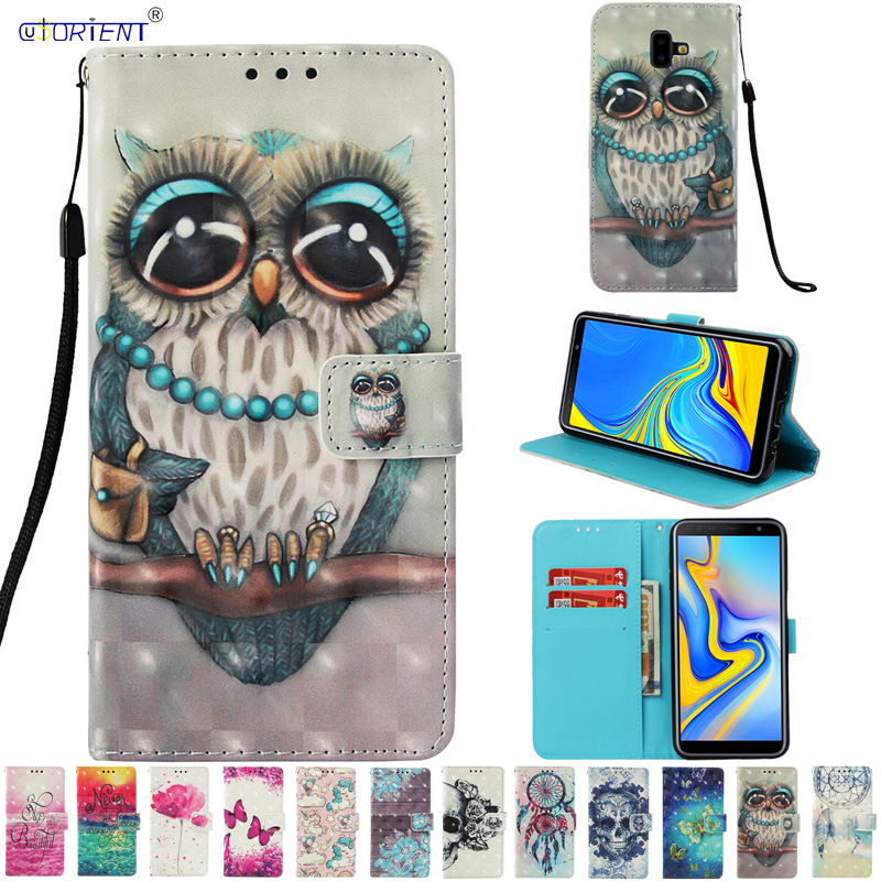 J6 Plus Shell For Samsung Galaxy J6 Plus J6+ Flip PU Leather Wallet Phone Cover SM-J610FN/DS SM-J610F/DS 3D Painting Stand Cases