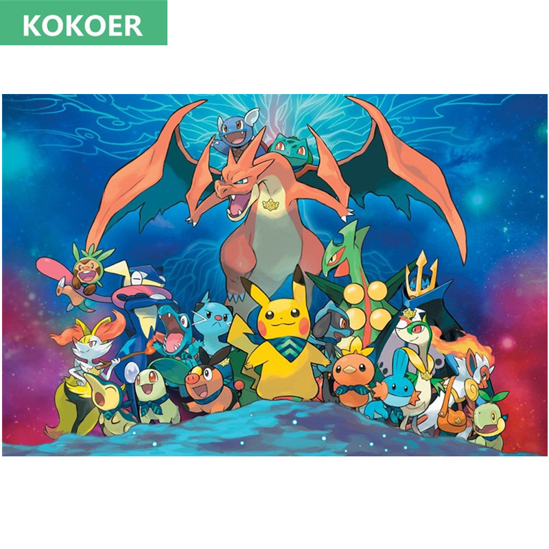 5D DIY Full Rhinestone Painting Crystal Home Decor 3D Diamond Painting Cartoon PokeMon Cross Stitch dinner Diamond Embroidery