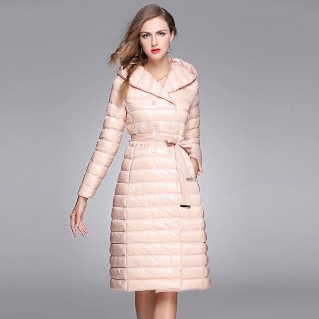 2016 mulheres jaqueta de inverno fino ultra leve para baixo casacos moda marca Europeia com capuz para baixo casacos manteau femme Elegante macio AO101