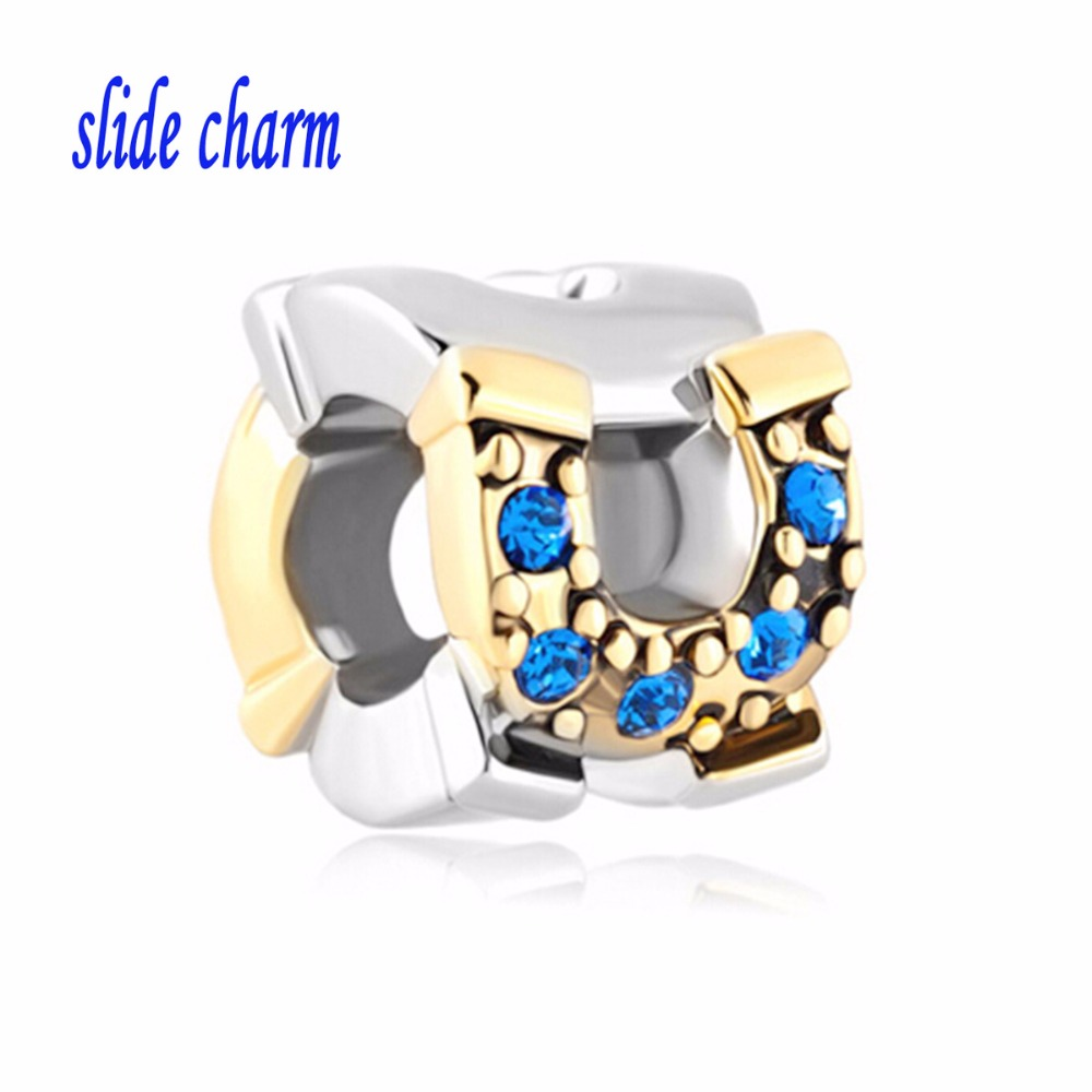 slide charm Free shipping Valentines Day gift for children and gilded crystal blue horseshoe beads fit Pandora charm bracelets