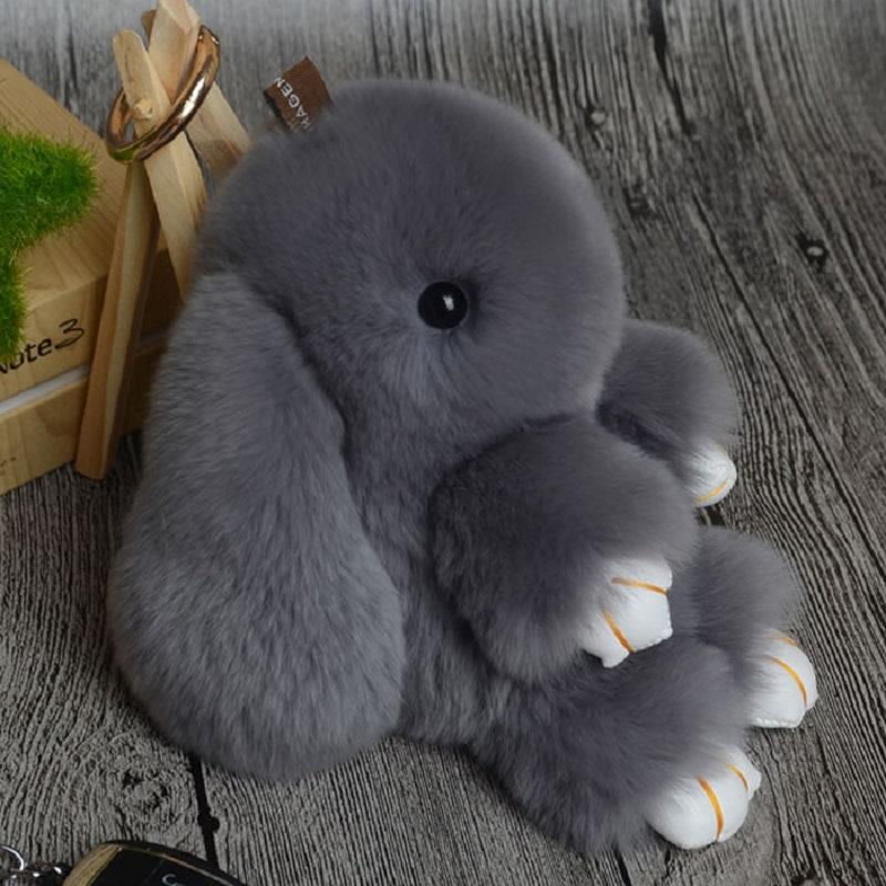 Rabbit Keychain Cute Fluffy Bunny Keychain Rex Genuine Rabbit Fur Pompom Key Ring Pom Pom Toy Doll Bag Charm Car Key Holder 13