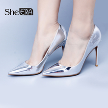 Купить с кэшбэком Women High Heels Pumps 6cm/8cm/10cm Heels Silver/Gold Classic Party/Wedding Lady Shoes Casual Female Shoes Woman Footwear