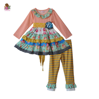 Wysokiej Jakości Dziewczynka Spaść Boutique Outfits Dziewczyny Różowy Floral Ruffle Suknia Żółte Paski Spodnie Księżniczka Ubrania Zestawy F171