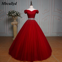 Mbcullyd New Ball Gown Quinceanera Dresses Beaded Crystals Sweet 16 Years Birthday Party Gowns Red Vestido De 15 Anos Hot Sale