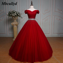 Ball-Gown Quinceanera-Dresses Puffy Birthday-Party Beaded Crystals Sweet 16-Years Red