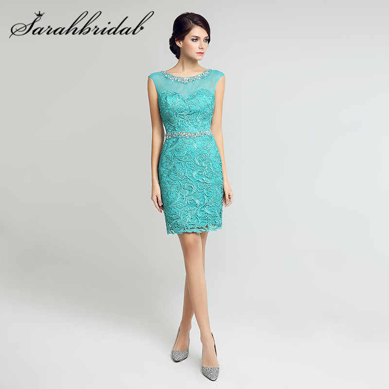 Thanh lịch Ngắn Ren Cocktail Dresses Sheer Cổ Keyhole Lại Knee Length Mother of the Bride Gowns vestidos de festa LX205