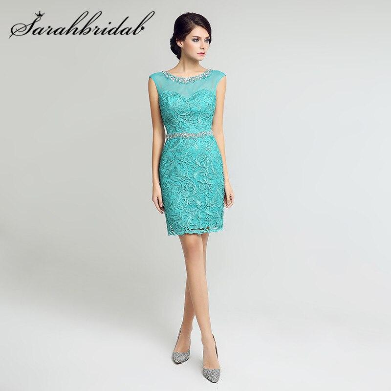 Elegant Short Lace Cocktail Dresses Sheer Neck Keyhole Back Knee