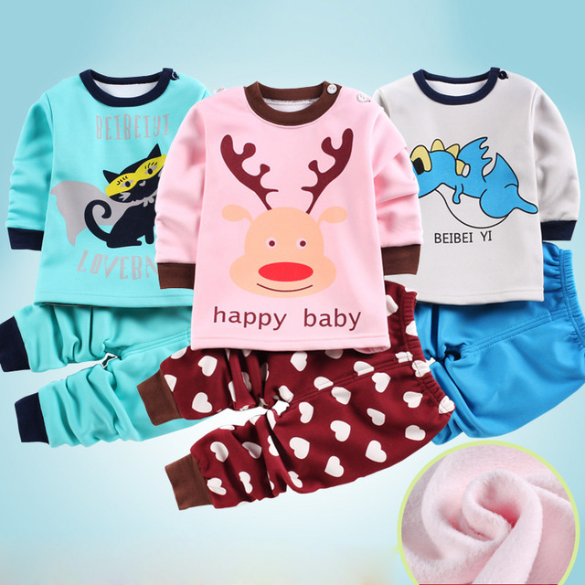 Baby Set Thickening Baby Girls Clothing Set Long Sleeve Pullover Top+Pants 2Pcs Cotton Baby Boy Clothes Newborn Baby Clothes Set