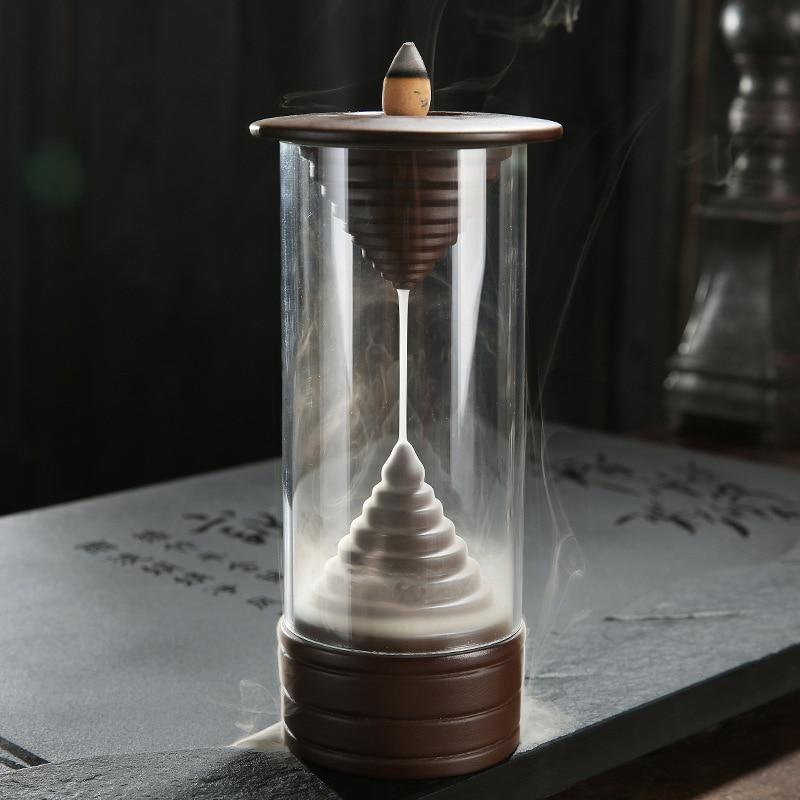 Ceramic Creative Backflow Incense Burner Cones Stick Back Glass Hydroponic Plant Vase Holder Home Decoration Refreshment Home & Garden Home Decor
