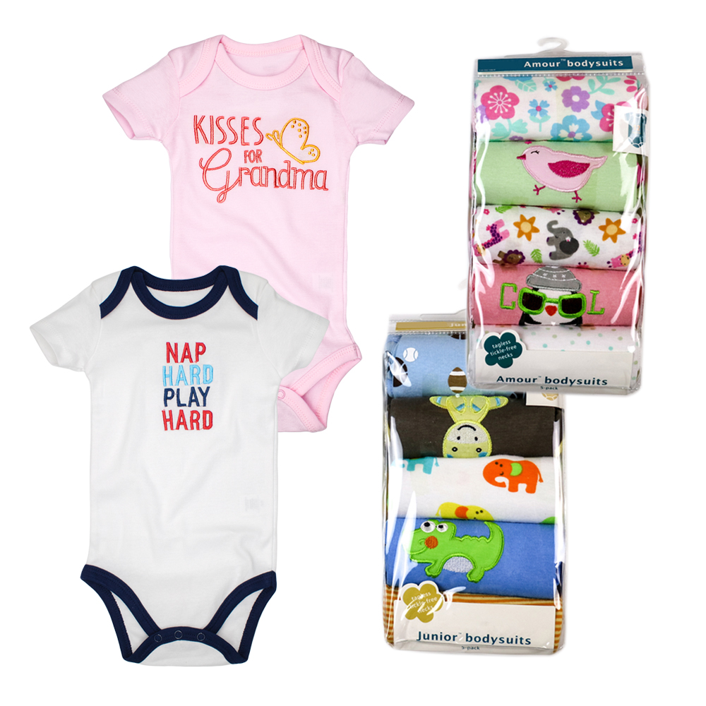 Factory Wholesale 5 Pcs/lot Baby Clothing Short Sleeved Newborn Baby Bodysuits 100% Cotton Baby Girl Boy Clothes Random Delivery