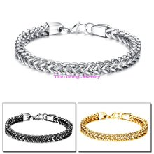 New Fashion Women Men Jewelry Silver/Gold/Black Figaro Box Curb Chain Bracelet Stainless Steel Bracelet For Xmas Gift