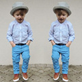 Kids Clothing Set 2017 New Fashion Baby Boy Long Sleeve T-shirt Pants Suit Boy Fashion Two-Piece Gentleman Shirt Pants a082