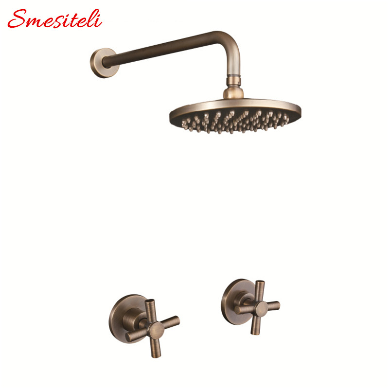 Antique 100 Brass Vintage Old 8 Inch Round Rainfall Shower Head 400mm Wall Arm Set With
