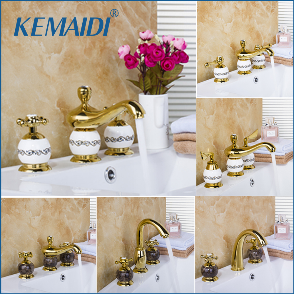 KEMAIDI Deck Mounted Mixer Ceramic&Golden&Marble Taps Waterfall 3 Pieces Bathroom Bathtub Torneira Basin Sink Brass Faucet deck mounted bathroom basin sink bathtub