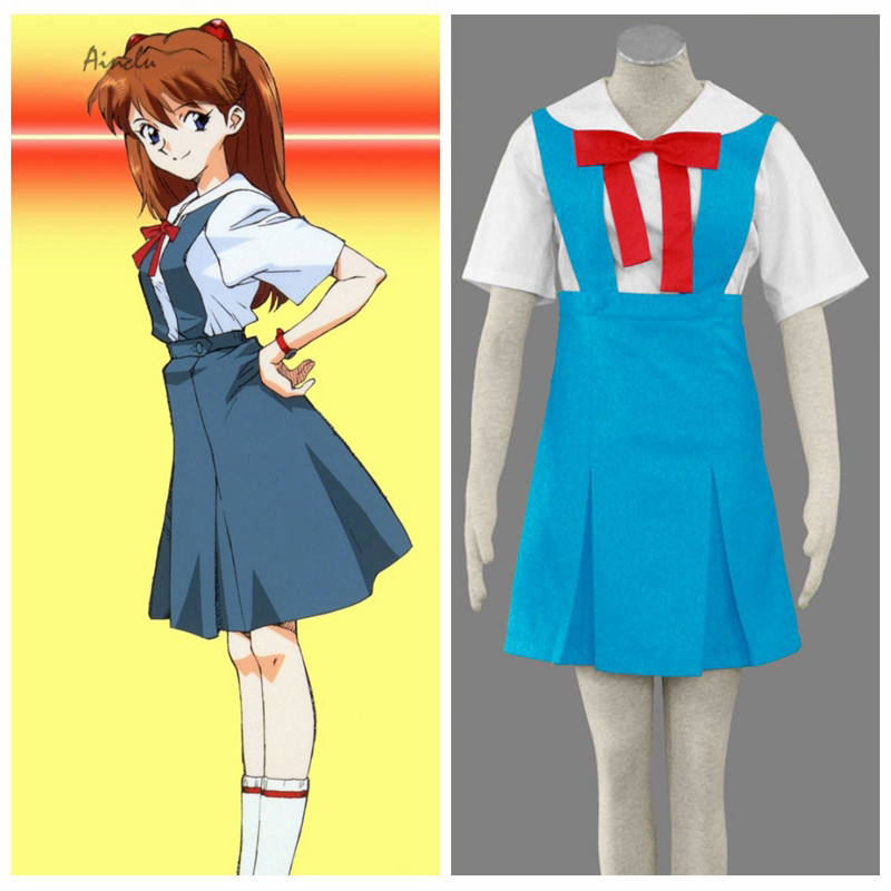 Ainclu Free Shipping Adult Kid New Genesis Evangelion Anime Ayanami Rei/Asuka School Uniform Halloween Cosplay White Costume