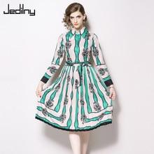 Women Dress 2019 Spring Long Sleeve Lapel Print Contrast Stripe Bow Slim Dress Elegant Party Dress цена и фото