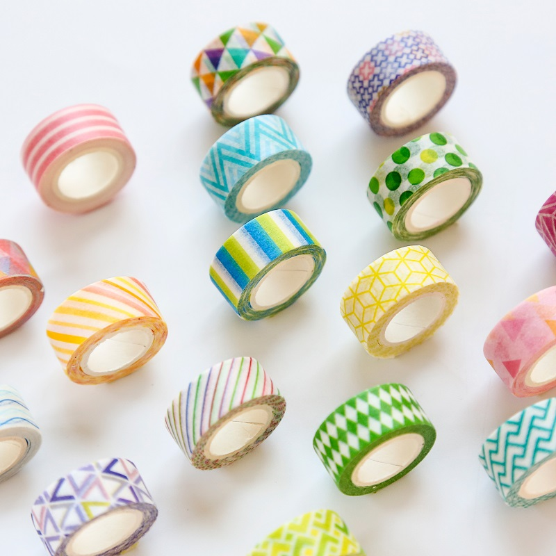 4 Rolls/pack Washi Tape Set Fresh Colorful Geometric Paper Masking Tapes Japanese Washi Tape DIY Scrapbooking Sticker