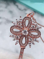 2019 NEW original brand snowflake sweater chain 925 sterling silver snowflake key necklace for women