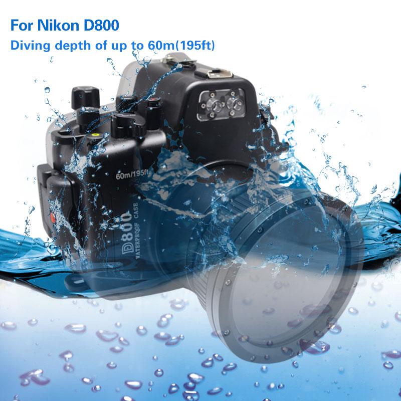 Mcoplus 60M/195ft Camera Underwater Housing Waterproof Case For Nikon D800 with Inbuilt Leak Detection Alarm Buzzer Sensor