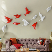European 3D Stereo Wall Resin Bird Wall Background Ornament Home Furnishing Crafts Decoration Creative Wall Sticker Mural Decor