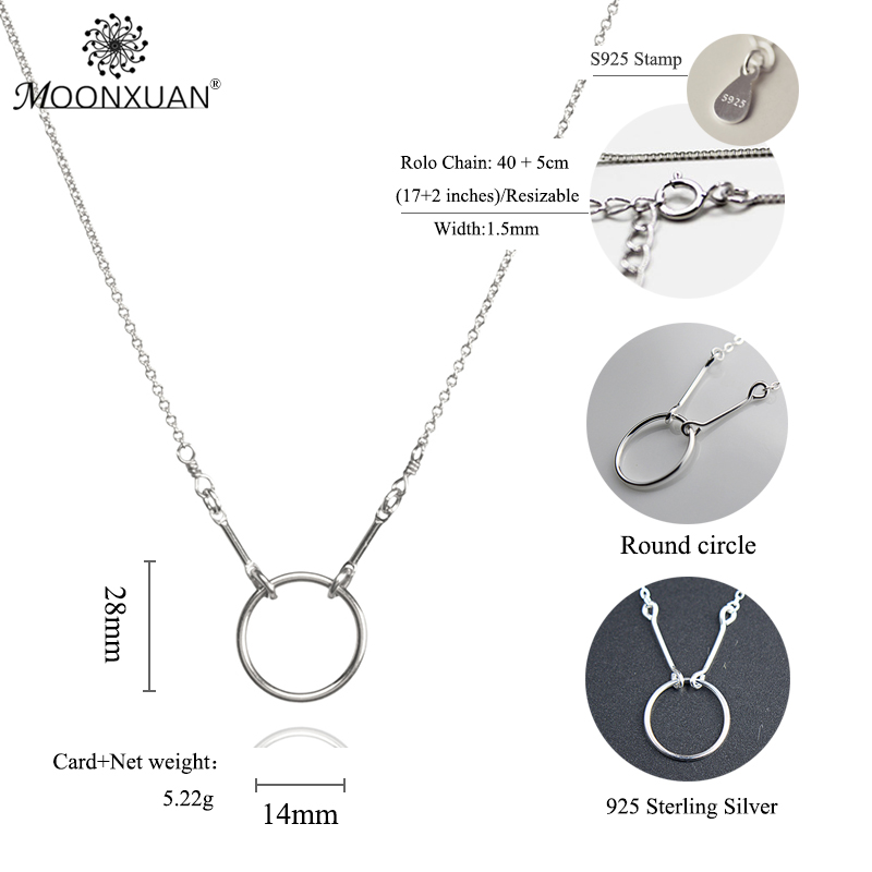 925 Sterling Silver Simple Round Circle colgantes colgantes MOONXUAN - Joyas - foto 3