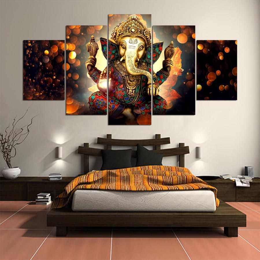 Canvas Painting Wall Art Home Decor Frame 5 Pieces Ganesh Elephant Trunk God For Living Room Modern Hd Printed Landscape Picture Canvas Painting Landscape Picturesdecorative Frame Aliexpress