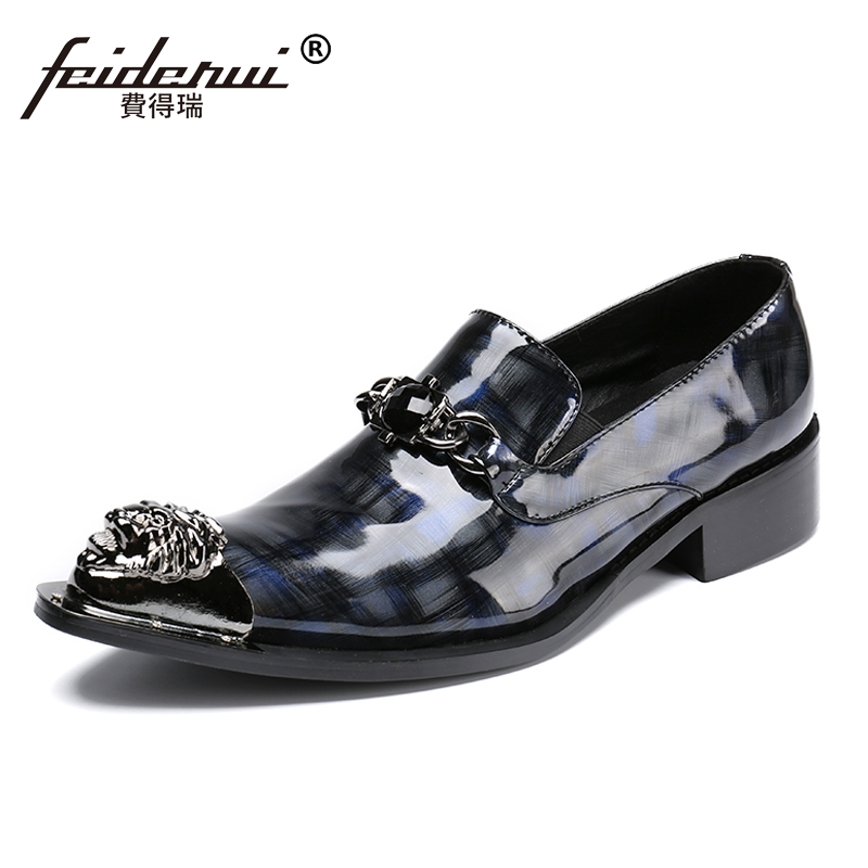 Plus Size Luxury Rhinestone Man Runway Loafers Patent Leather Pointed Toe Slip on Wedding Party Men's Punk Rocker Shoes SL68 plus size pointed toe slip on man glitter punk loafers luxury genuine leather studded wedding party men s runway shoes sl31