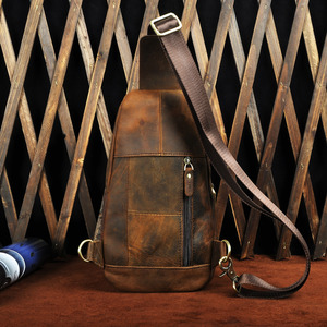 Image 5 - Горячая Распродажа, мужская кожаная повседневная модная нагрудная сумка на ремне Crazy Horse, 8 дюймов, дизайнерская сумка на одно плечо, сумка через плечо для мужчин 8013 d