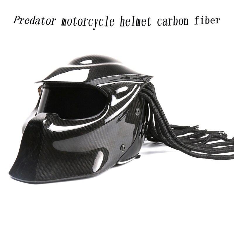 Carnassier fibre de carbone casque moto intégral fer homme casque Certification haute qualité noir