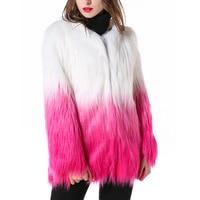 New Fashion Imitation Mongolia Sheep Fur Coat gradual Color Overcoat women's clothing long coats Faux Fur winter coat women